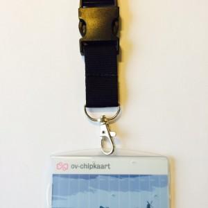OV-chipkaart hoesje met breed keycord en breakaway (zwart)